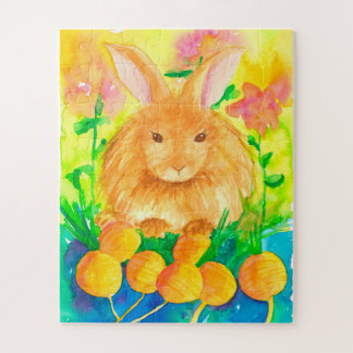 Watercolor-Kaninchen-Karotten-Blumen-Kinder Puzzle