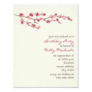 Watercolor-Kirschblüten-Geburtstags-Party laden 10,8 X 14 Cm Einladungskarte