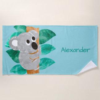 Watercolor-Koala-Bär scherzt personalisiertes Strandtuch