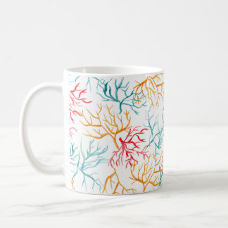 Watercolor-Korallenriff verzweigt sich aquamarines Kaffeetasse