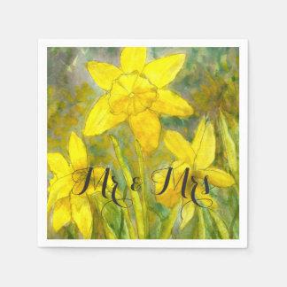 Watercolor-Kunst-Gelb-Blumen-Narzissen Herr und Papierserviette