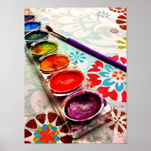 Watercolor-Künstler-Farben-Behälter und Bürste auf Plakatdrucke