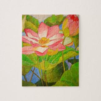 Watercolor-Kunstmalerei Wasserlilie des Lotos rosa Puzzle