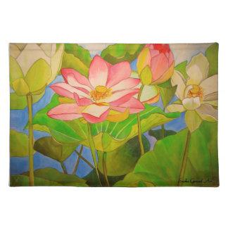 Watercolor-Kunstmalerei Wasserlilie des Lotos rosa Tischset