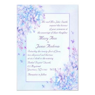 Watercolor-laden blaue lila lila Blumen-Hochzeit 12,7 X 17,8 Cm Einladungskarte