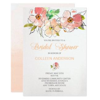 Watercolor-laden Blumeneindrucks-Brautparty ein Karte