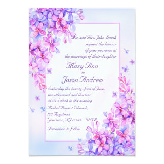 Watercolor-laden lila lila Blumen-Hochzeits-12x18 12,7 X 17,8 Cm Einladungskarte