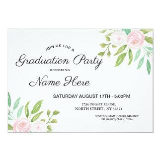 Watercolor-laden rosa Blumen-Abschluss-Party ein Karte
