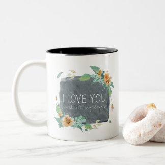 Watercolor-Liebe der Mutter Tagesc$sie mit meinem Zweifarbige Tasse