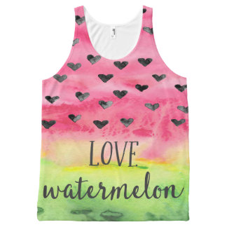 Watercolor-Liebe-Wassermelone-Herzen Komplett Bedrucktes Tanktop