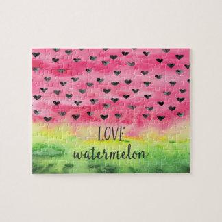 Watercolor-Liebe-Wassermelone-Herzen Puzzle