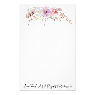 Watercolor-lila Blumen- u. Feder personalisiert Briefpapier