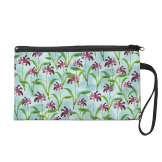 Watercolor-lila Blumenmuster Wristlet Handtasche