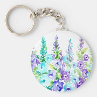 Watercolor-lila Blumenspitzen Schlüsselanhänger