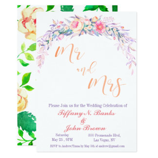 Watercolor-lila Hochzeits-mit Blumeneinladung Karte