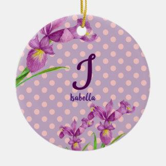 Watercolor-lila Iris-botanisches Blumenmonogramm Keramik Ornament