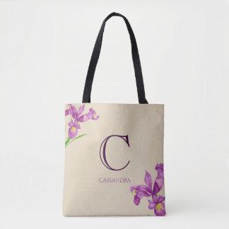Watercolor-lila Iris-botanisches Blumenmonogramm Tasche