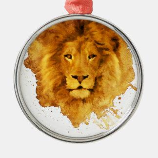 Watercolor Lion Silbernes Ornament