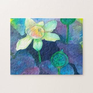 Watercolor-Lotos-Blume Puzzle