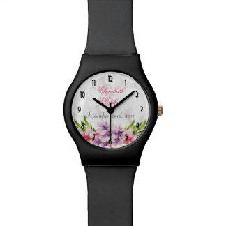 Watercolor-Magnolien, Armbanduhr
