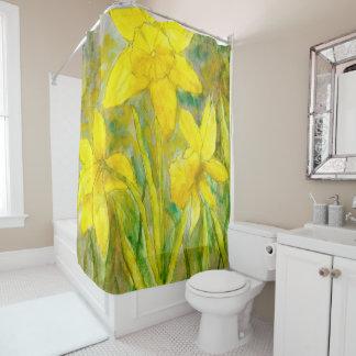 Watercolor-Malerei, gelbe Blumen-Kunst, Narzissen Duschvorhang