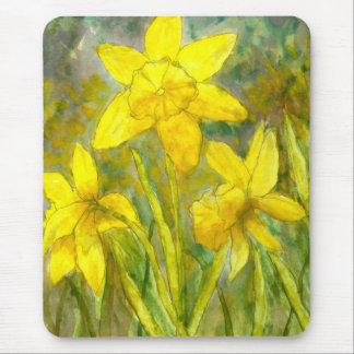 Watercolor-Malerei, gelbe Blumen-Kunst, Narzissen Mauspad