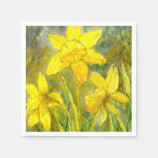 Watercolor-Malerei, gelbe Blumen-Kunst, Narzissen Servietten