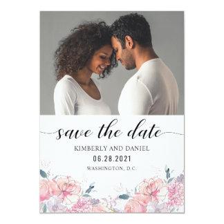 Watercolor mit Blumen mit Ihrem Foto Save the Date Karte