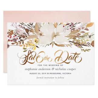 Watercolor mit Blumen Save the Date Karte