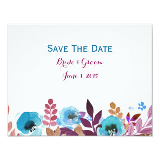 Watercolor-Mohnblumen-blaues Hochrot Save the Date 10,8 X 14 Cm Einladungskarte