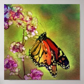 Watercolor-Monarch-Schmetterlings-Leinwand-Druck ( Poster