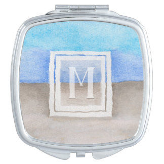 Watercolor-Monogramm-Meer u. Sand aquamarines Taschenspiegel