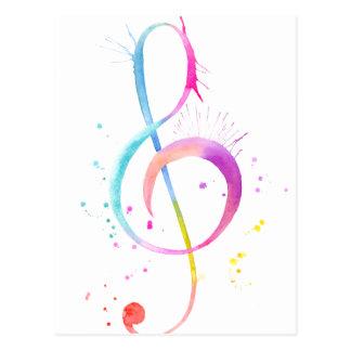 Watercolor-Musiknoten Postkarte