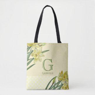 Watercolor-Narzissen-Blumen-Porträt-Monogramm Tasche