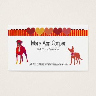 Watercolor-niedliche Haustier-Hundestreifen-Herzen Visitenkarte
