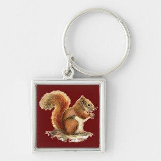 Watercolor-niedliche rotes Eichhörnchen-Tiernatur Silberfarbener Quadratischer Schlüsselanhänger