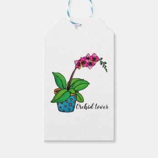 Watercolor-Orchideen-Pflanze im schönen Topf Geschenkanhänger