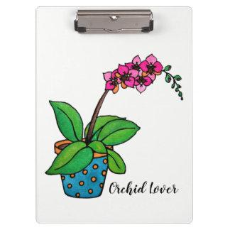 Watercolor-Orchideen-Pflanze im schönen Topf Klemmbrett