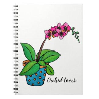 Watercolor-Orchideen-Pflanze im schönen Topf Spiral Notizblock