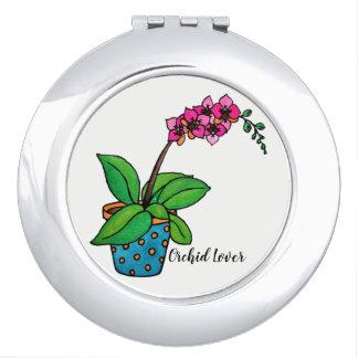 Watercolor-Orchideen-Pflanze im schönen Topf Taschenspiegel