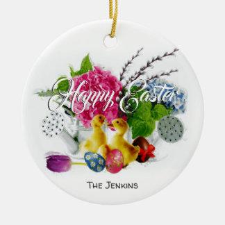 Watercolor-Ostereier, Entlein u. Frühlings-Blumen Keramik Ornament