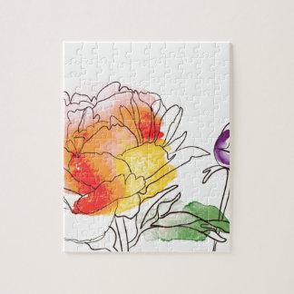 Watercolor-Pfingstrosen-Blumen Puzzle