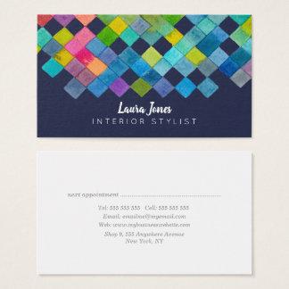 Watercolor quadriert Checkered Stylist-Geschäft Visitenkarte