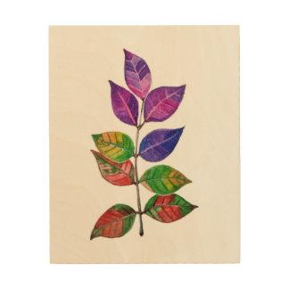 Watercolor-Regenbogen-Blätter Holzwanddeko