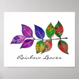 Watercolor-Regenbogen-Blätter Poster