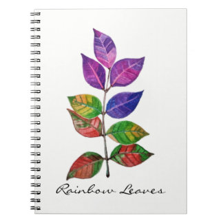 Watercolor-Regenbogen-Blätter Spiral Notizblock