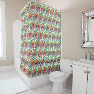 Watercolor-Regenbogen-Blumen Duschvorhang