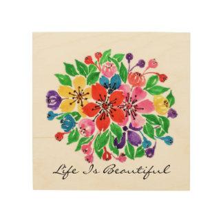 Watercolor-Regenbogen-Blumen Holzleinwand