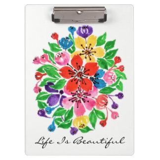Watercolor-Regenbogen-Blumen Klemmbrett
