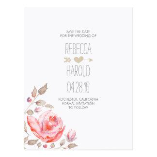 Watercolor-romantische Save the Date mit Postkarte